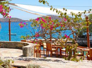 Traditional Greek open-air restaurant at luxury hotel, Crete, Gr